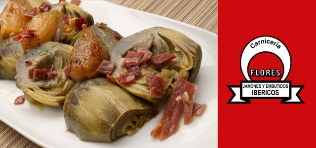Receta de alcachofas con chalotas y jamón